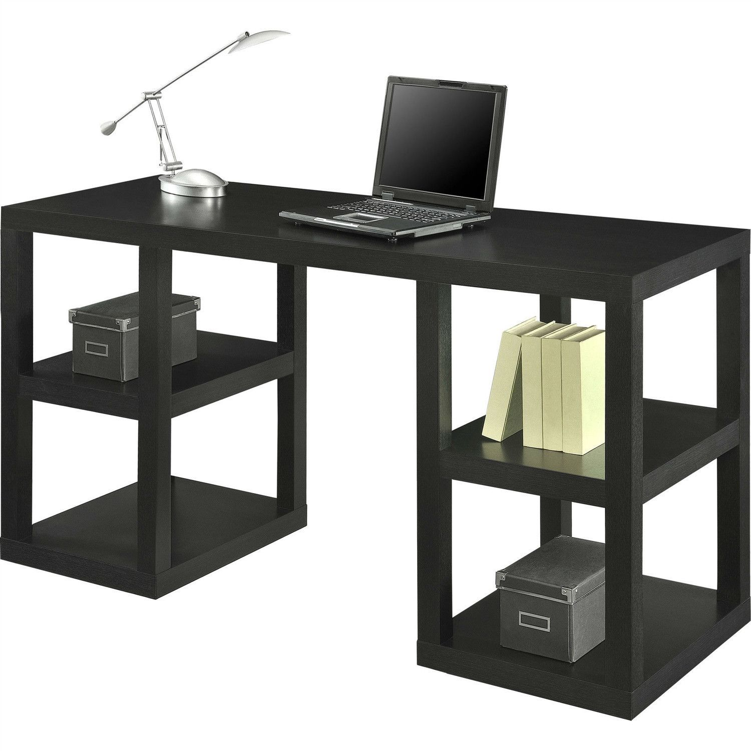 Modern Home Office Computer Desk In Black Oak Wood Finish