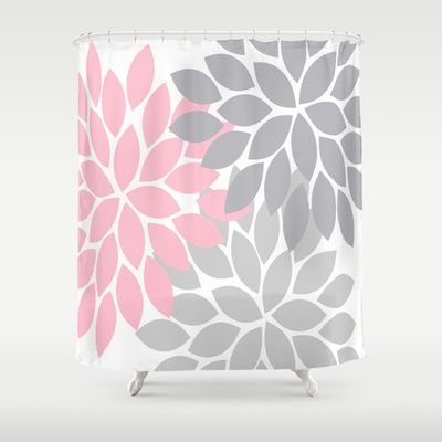 Bold Colorful Pink Grey Dahlia Flower Burst Petals Shower Curtain