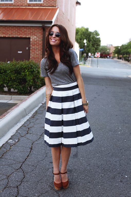 Grey V Neck Tee Tucked Into A Striped Skirt Brown Wedges Style