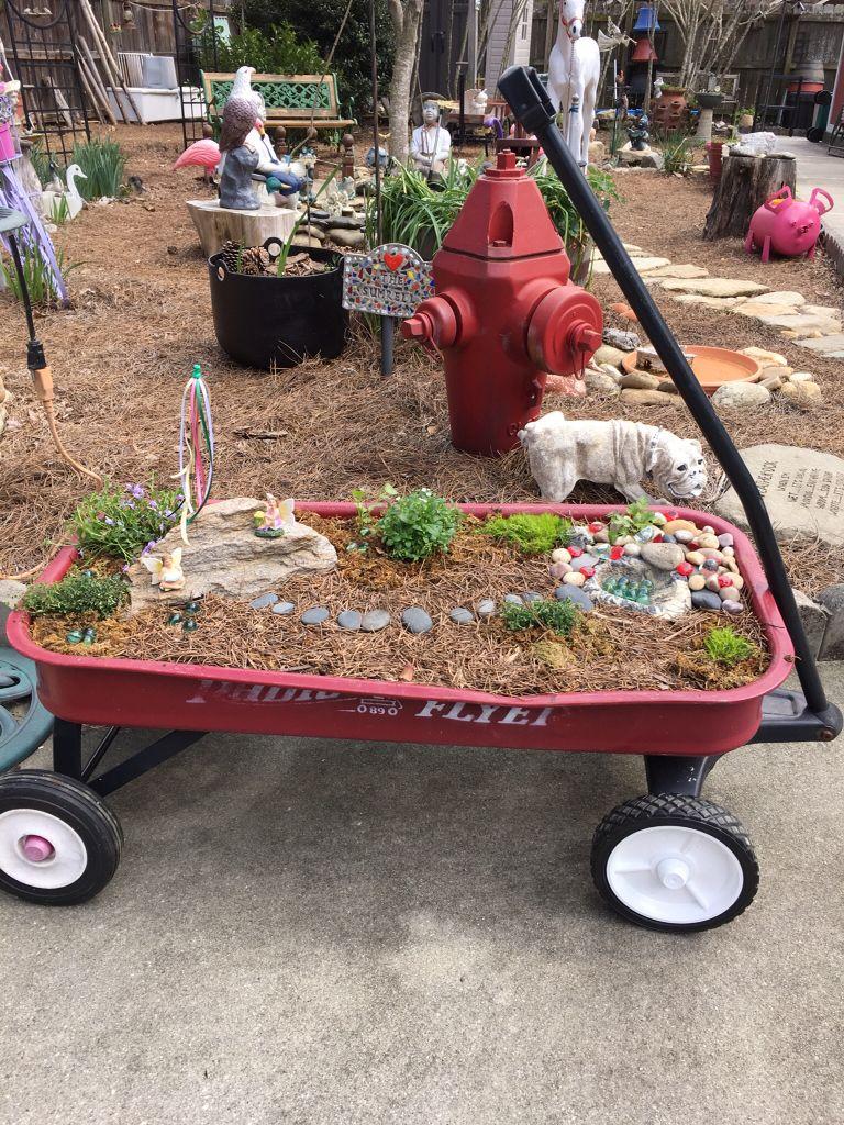 fairy garden in radio flyer wagon march 2016 my backyard