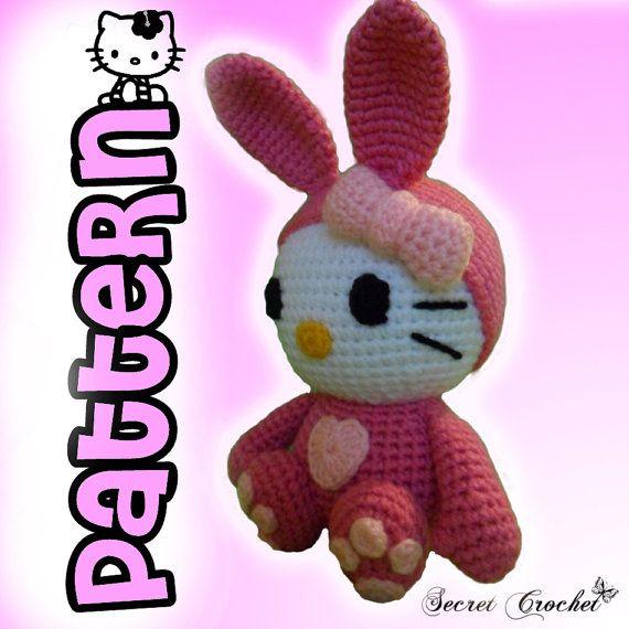 Amigurumi Crochet Pattern Kitty in Bunny Costume by SecretCrochet, $5.50