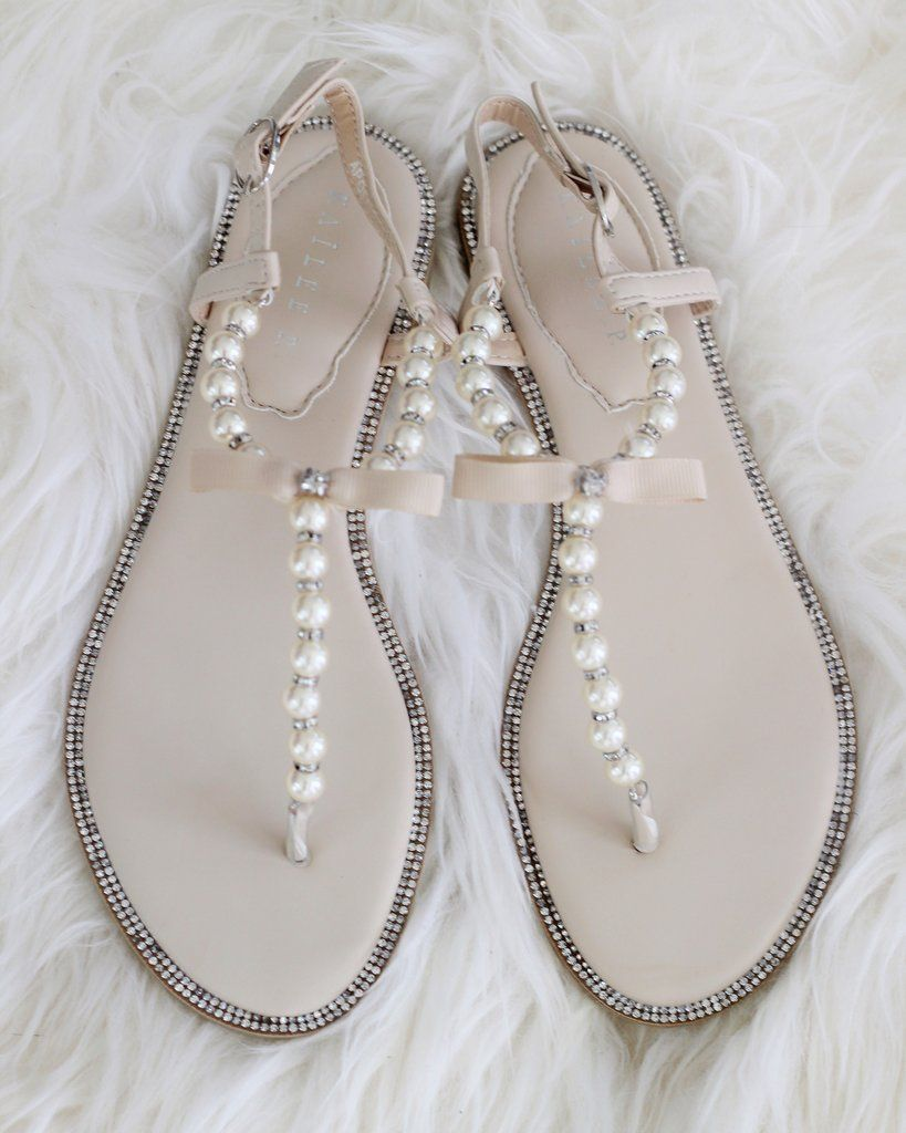 d4f7b0054bc879 NATURAL T-Strap Pearl Sandals With Rhinestones Embellishments