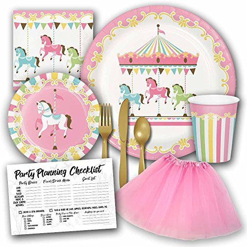 Carousel Pastel Birthday Party Supplies Set For Girls