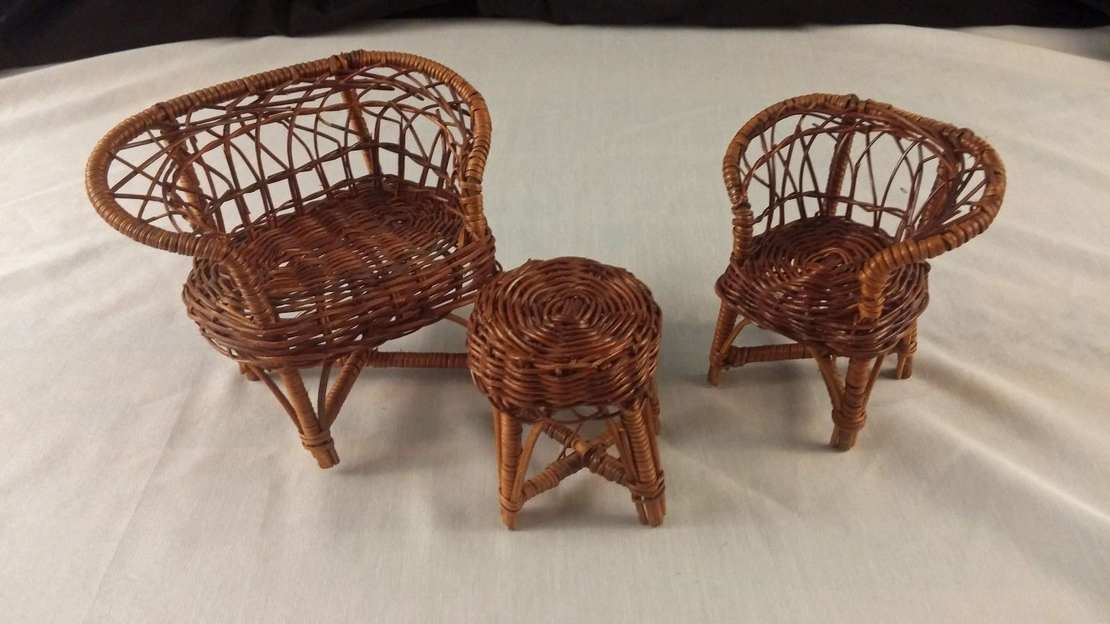 Vintage Brown Natural Wicker Doll Table Chair Settee Patio Flared Furniture Set | eBay