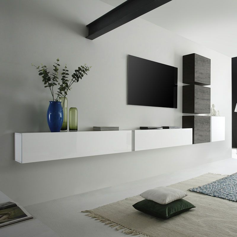 Ensemble meuble tv suspendu blanc laqu et weng moderne for Meuble long salon