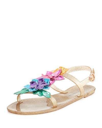 28b18a232dc2a Sophia Webster Hula 3D Floral Jelly Flat Sandal