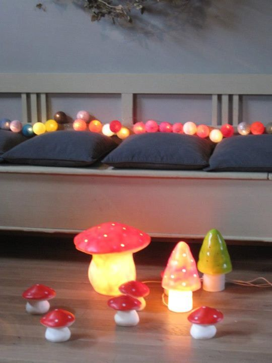 La Petite Broc boutique, Brabant, Belgium. Toadstool lamps and coin banks, cotton ball string lights.