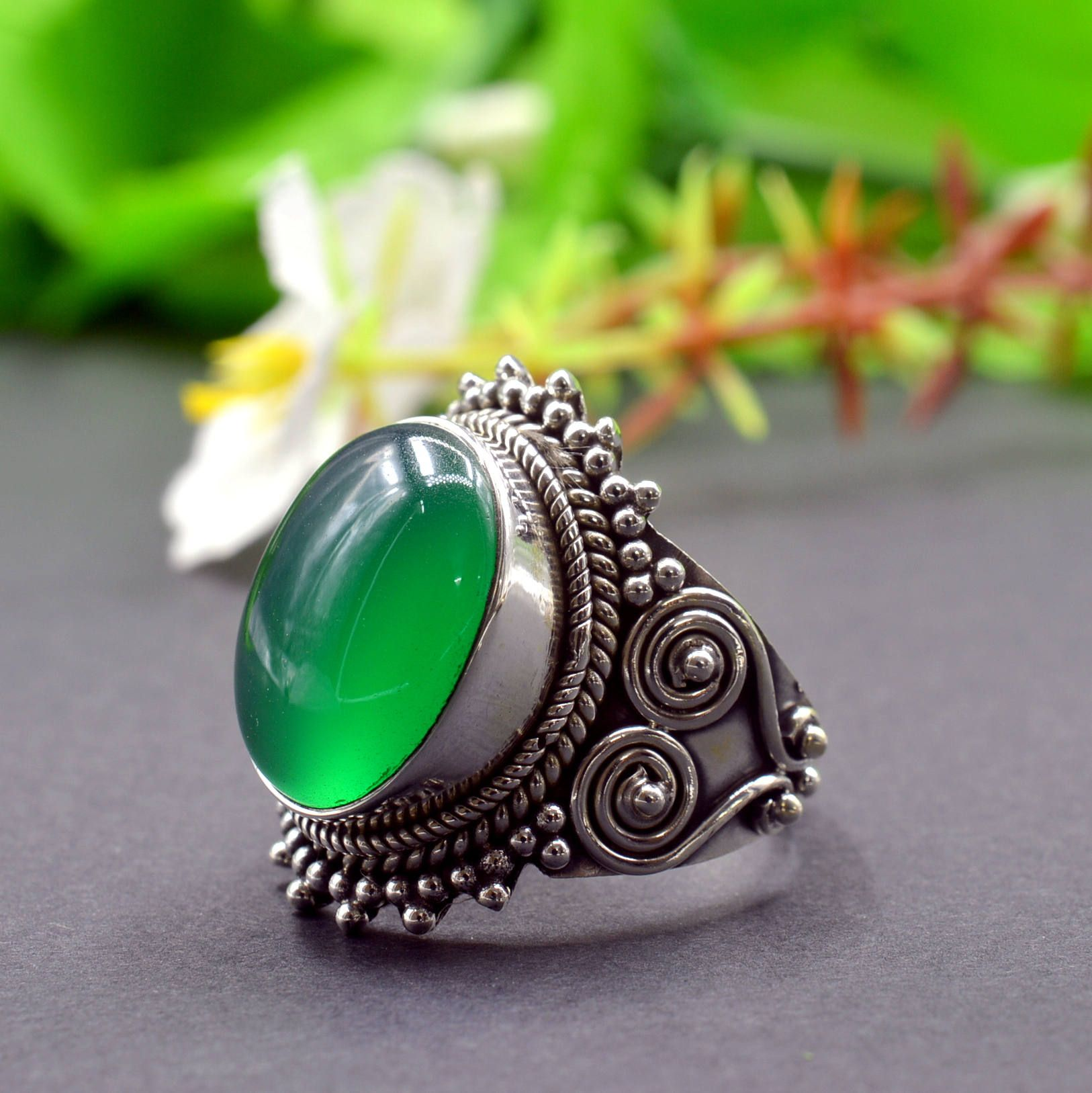 Handmade Ring,Statement Ring Birthstone Woman Ring Malachite Ring Size 8US Sterling Silver Ring Fashion Ring Statement Ring