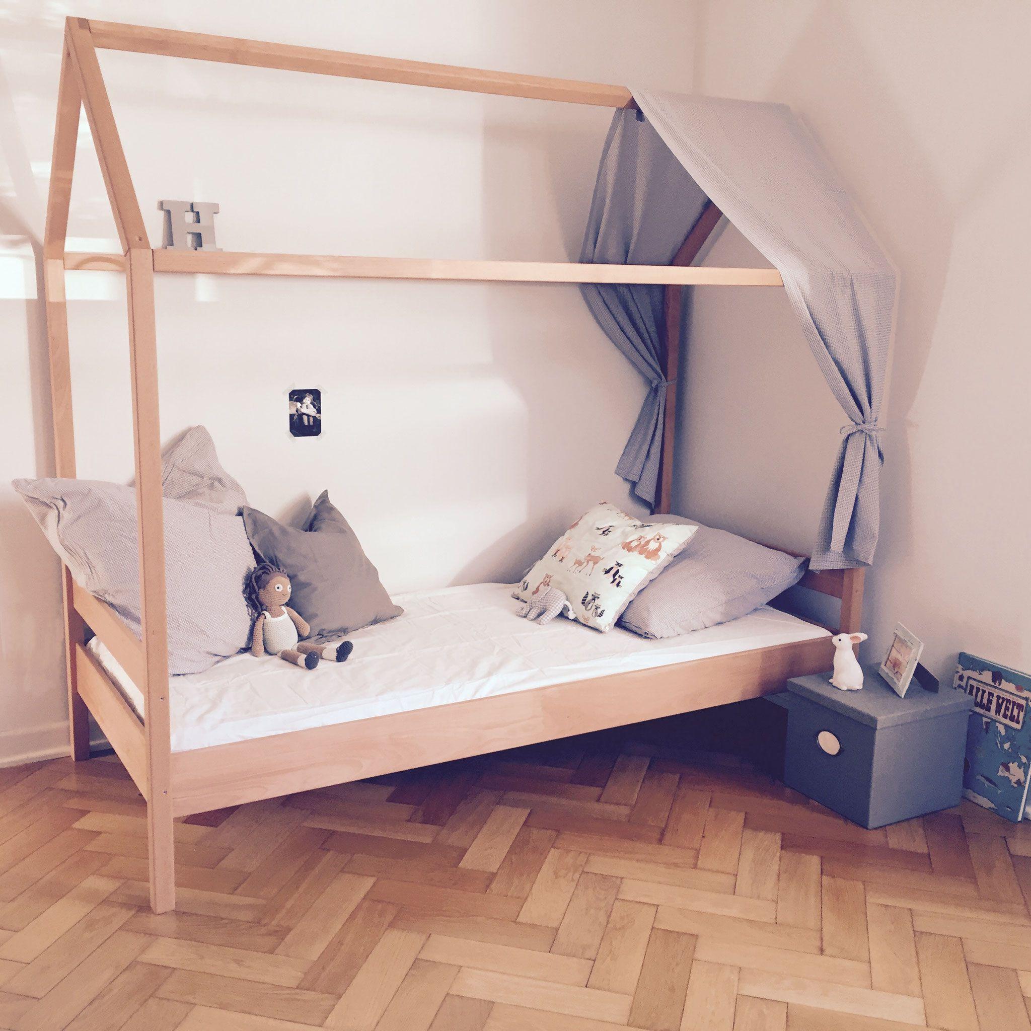 Kinderbett haus 90x200 cm von kindken massivholz buche for Kinderbett massivholz 90x200