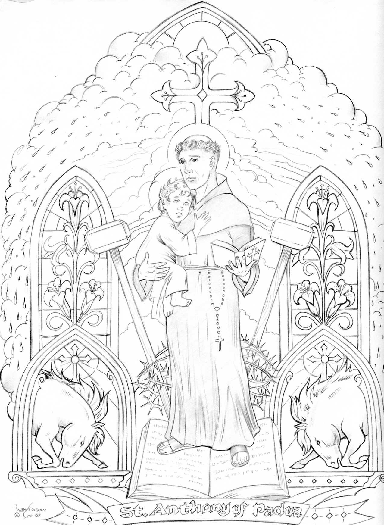 St anthony of padua coloring page religious coloring pages pinterest coloriage religieuse - Coloriage catholique ...