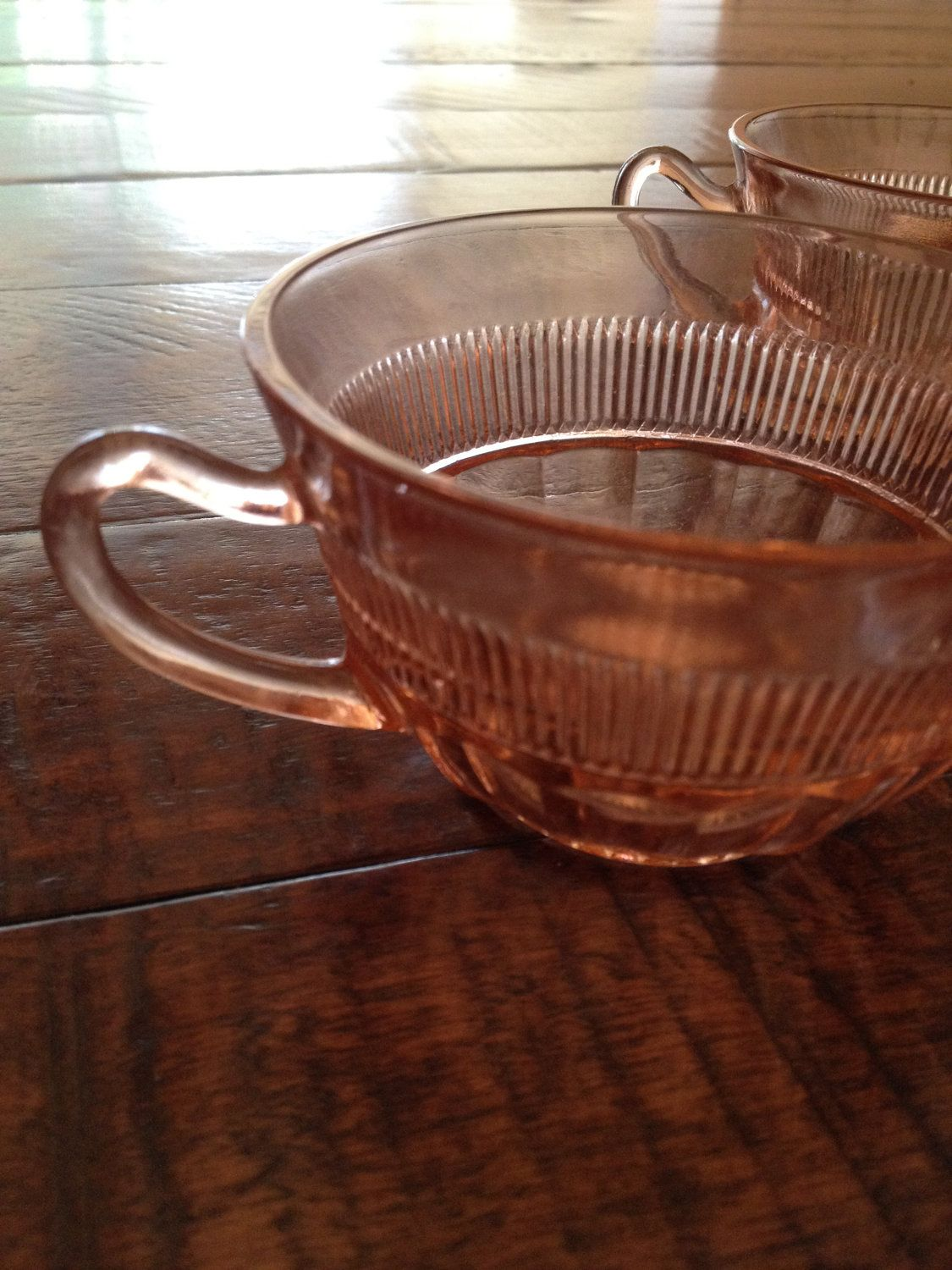 2 Coronation Hocking 1936-1940 Pink Depression Glass Tea Cups. $14.99, via Etsy.