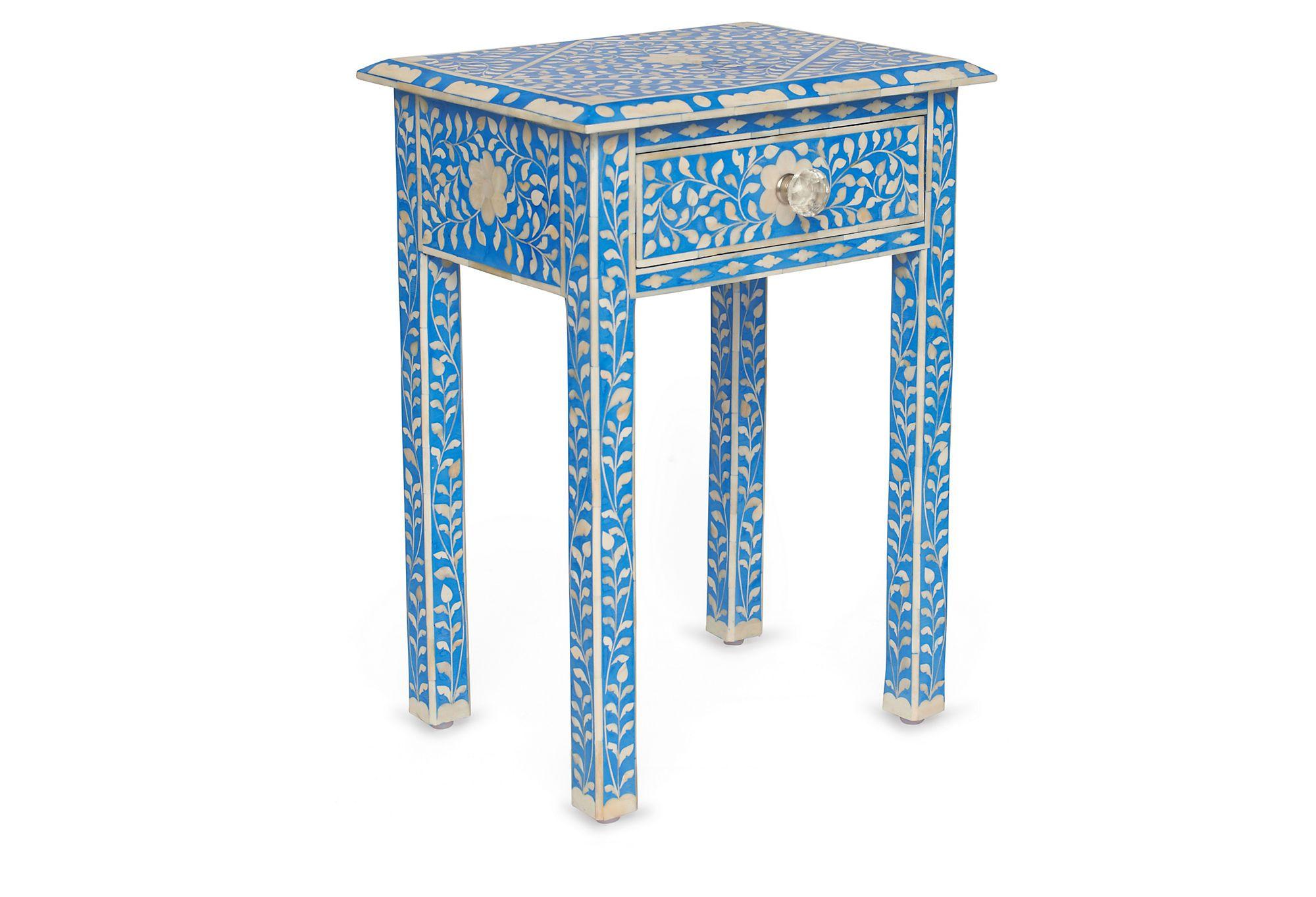 "Morrocan Bone Inlay Side Table, Indigo | 25""H x 14""D x 18""W"