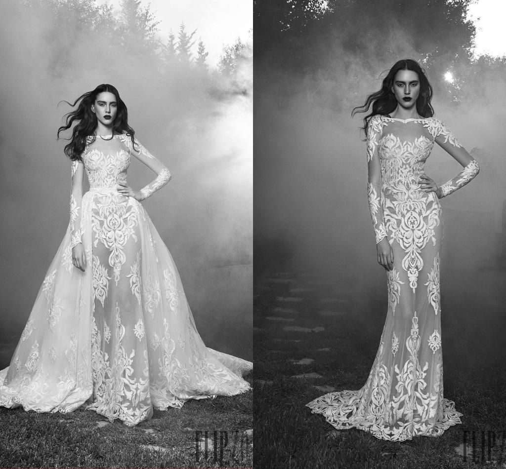 2016 Zuhair Murad See Through Wedding Dresses With Detachable Train ...
