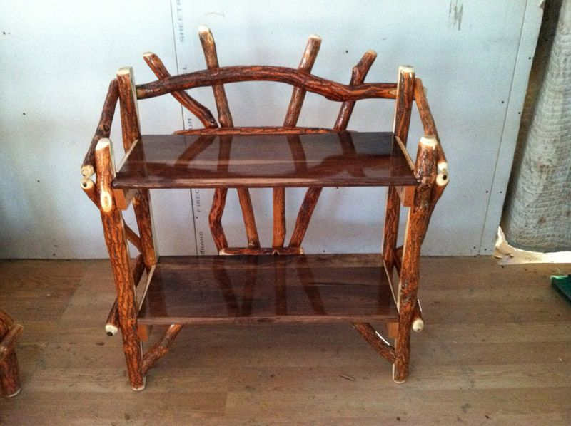 log rustic furniture amish. Rustic Log Sassafras Two Shelf Stand - A Great Furniture Look For Cabin Amish H