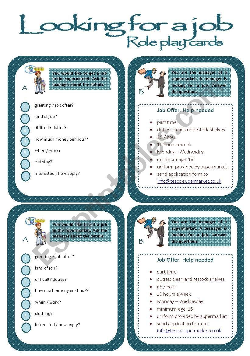 Role play cards series A job interview ESL worksheet by