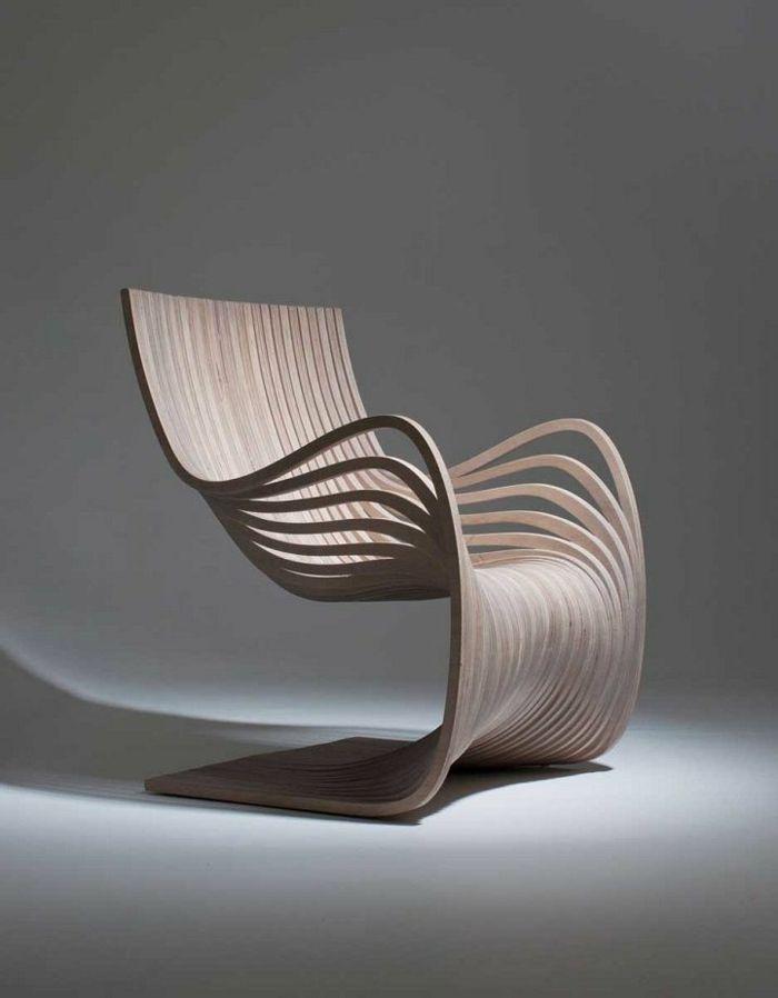 Designer Stuhl Holz Interessante Form Innovativ