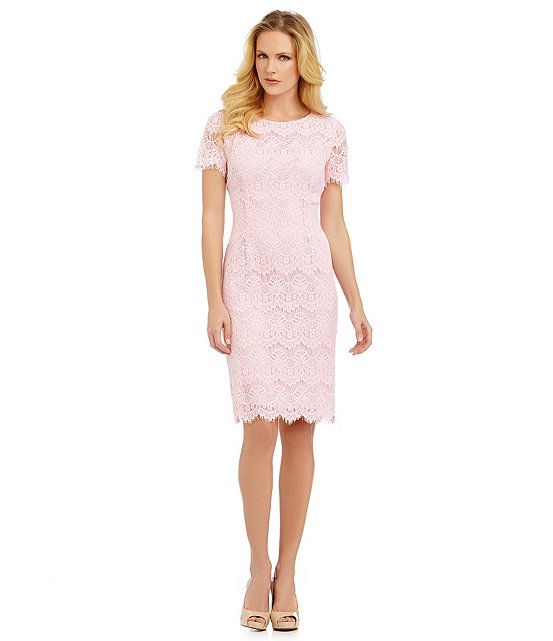 Preston York Felicia Short Sleeve Lace Sheath Dress Dillard S Dresses Dillards Dress Blush Bridesmaid Dresses