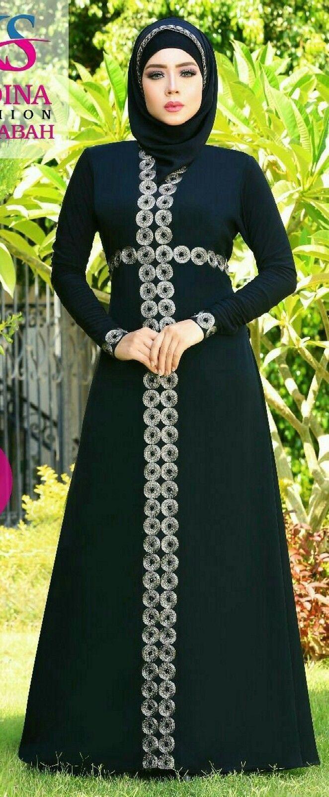 22f0fab634282 Dubai Kaftan Black Abaya Jalabiya Dress New Very Fancy Silk Wedding ...