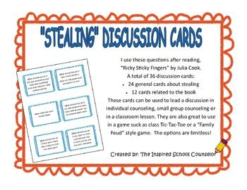 ricky sticky fingers discussion cards about honesty vs stealing sticky fingers finger and. Black Bedroom Furniture Sets. Home Design Ideas