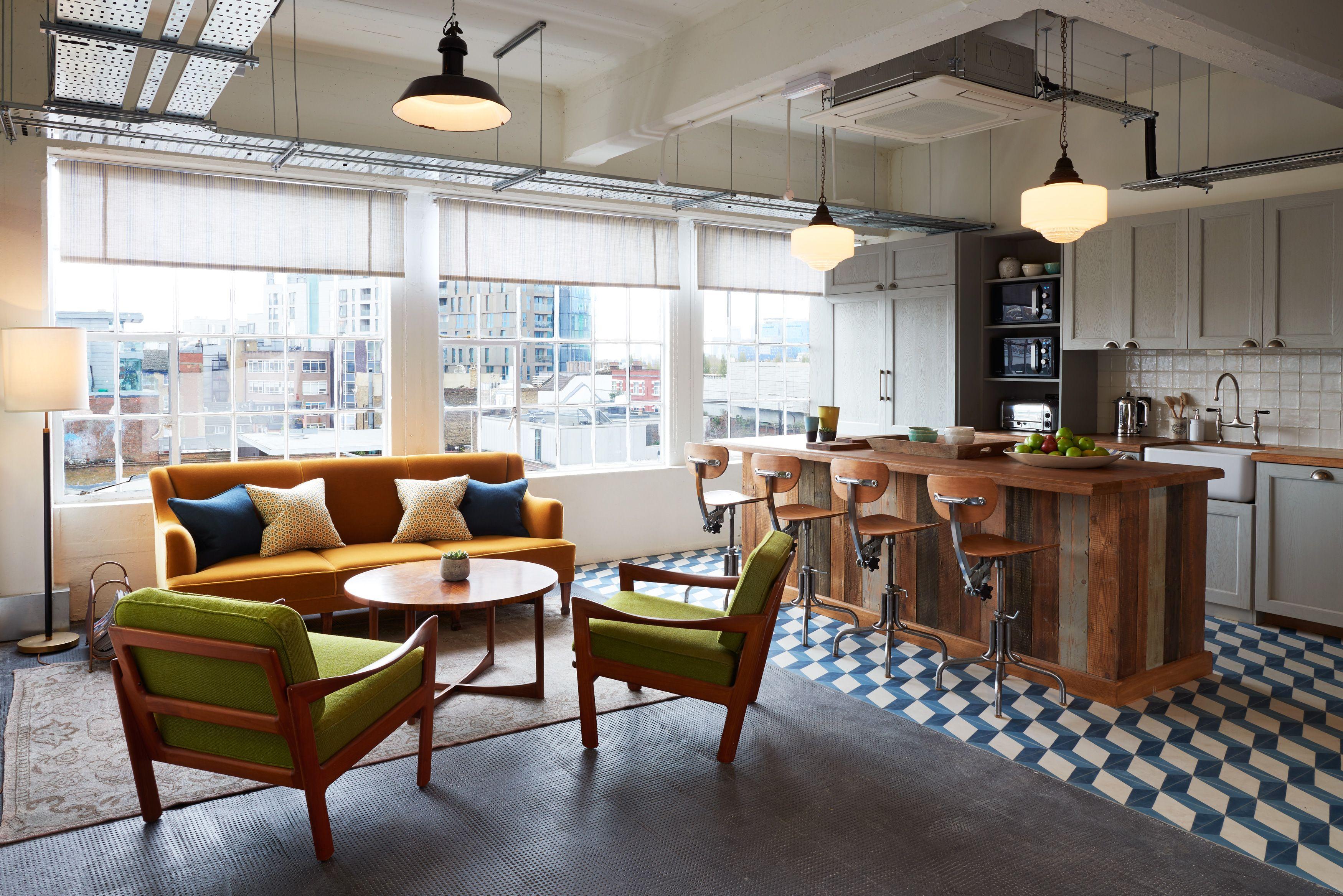 Shoreditch Soho Works Space Interiors Soho House Communal Kitchen