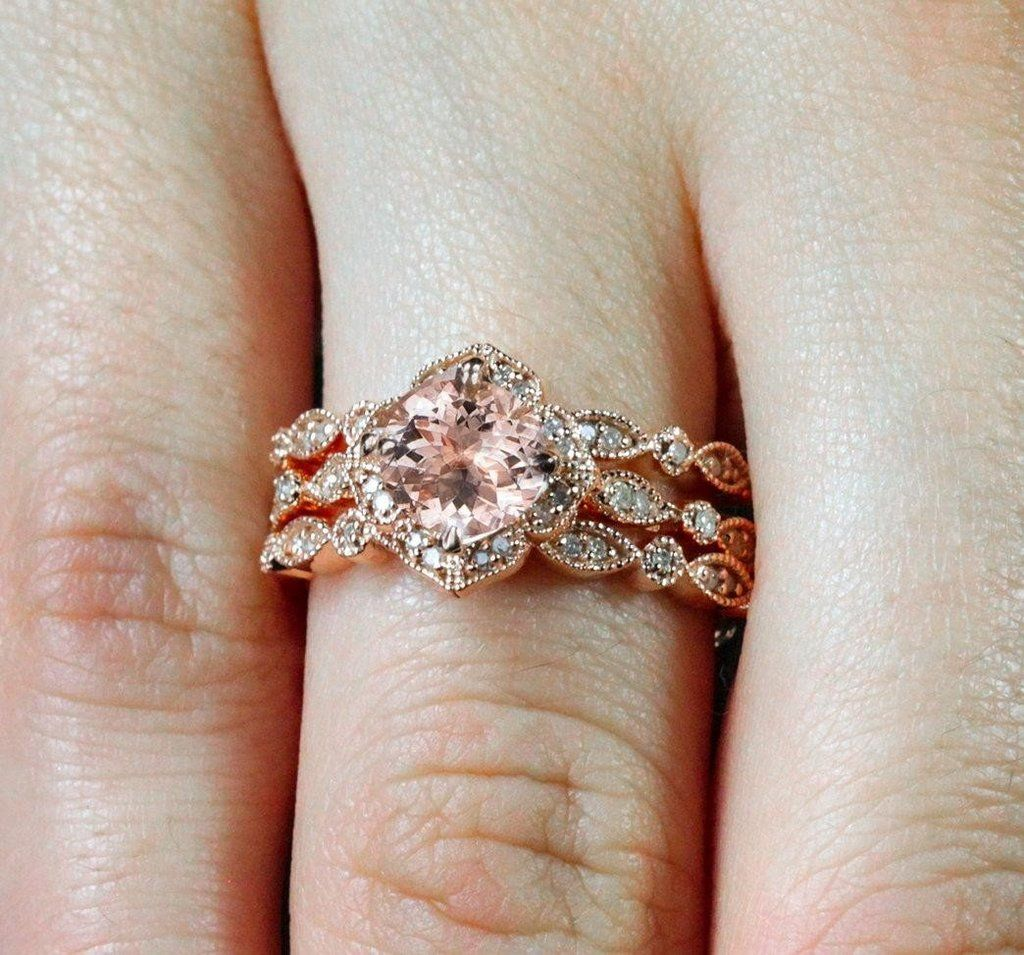 Limited Time Sale 2 25 Carat Morganite Diamond Trio Wedding Bridal
