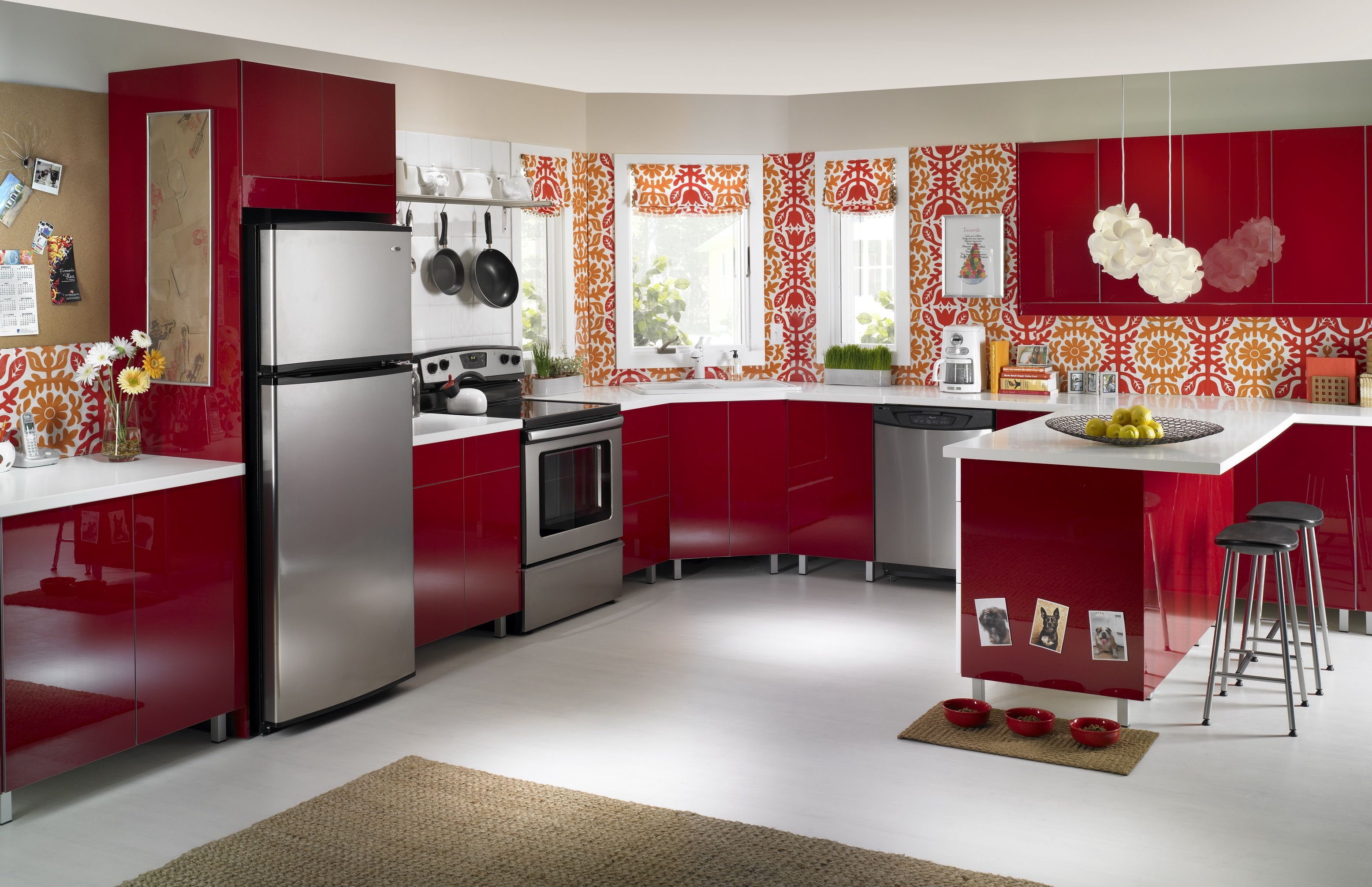 Wonderful red furniture kitchen interior design style color with