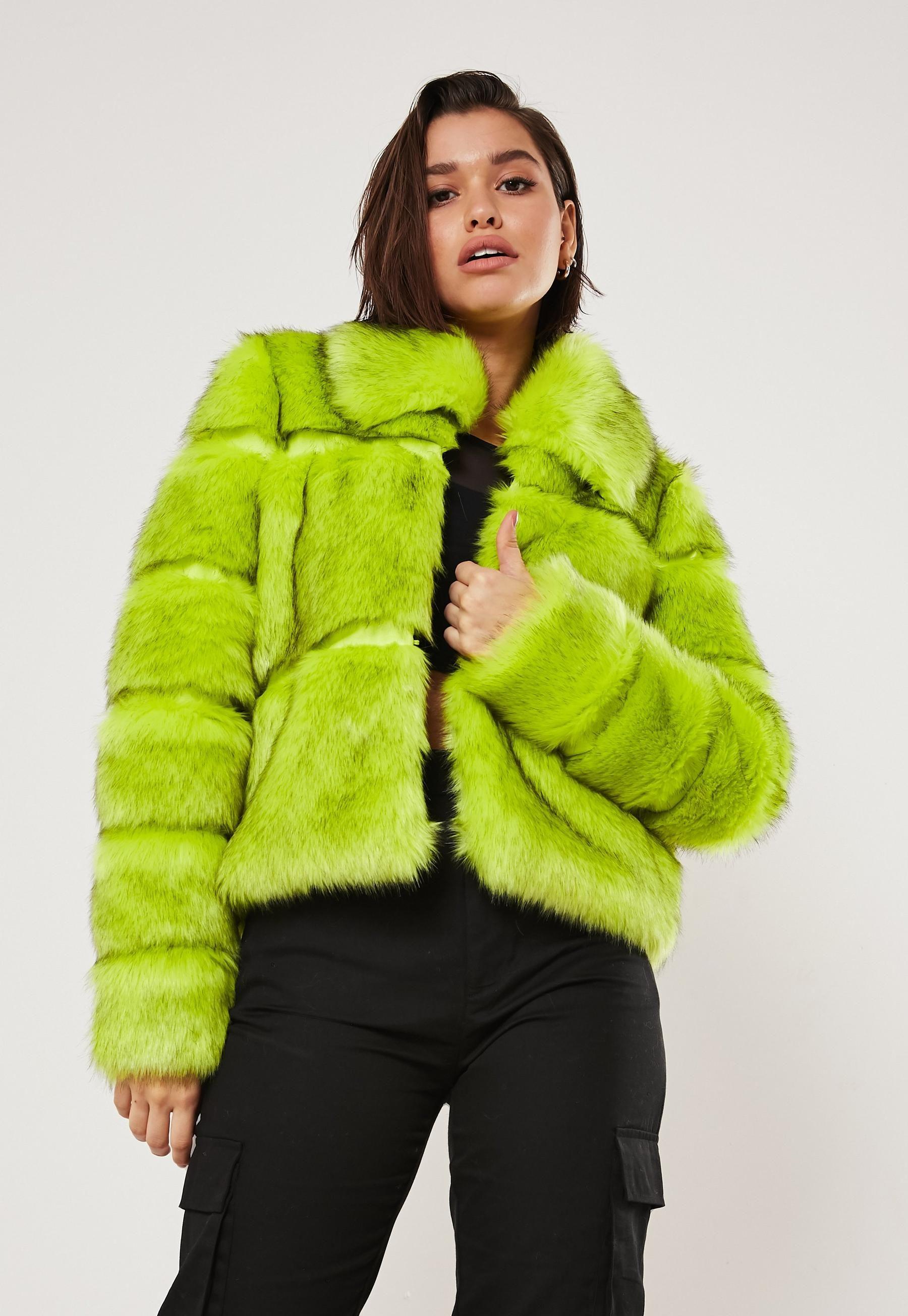 Neon Green Short Pelted Faux Fur Coat Missguided Green Fur Coat Coats Jackets Women Neon Green Shorts [ 2608 x 1800 Pixel ]