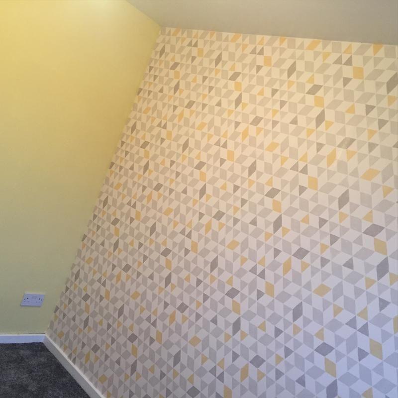 Colours Triangles Soft Lemon Geometric Wallpaper   Wallpaper, Spare ...