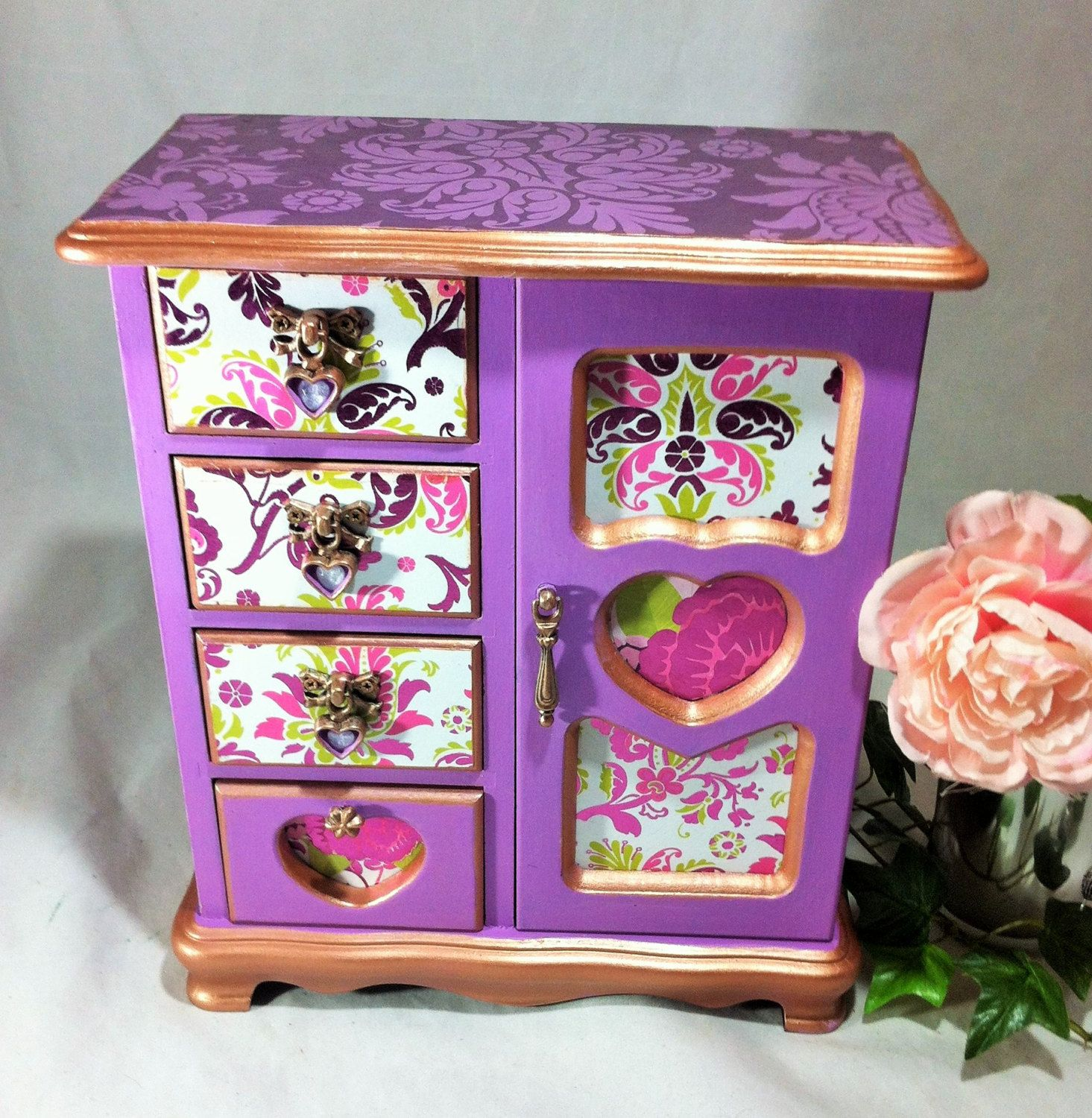 Lavender Girls Jewelry Box Purple Damask Jewelry Box Armoire