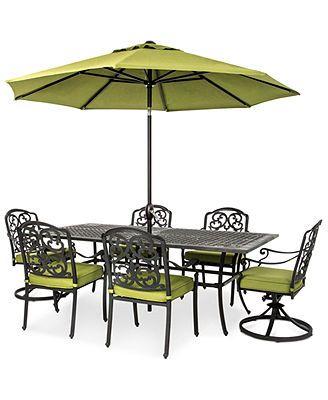 Kenbridge 7 Piece Outdoor Set 4 Dining Chairs 2 Swivel Chairs And 84 X 42 Table 4 Dining Chairs Outdoor Settings Closeout Furniture