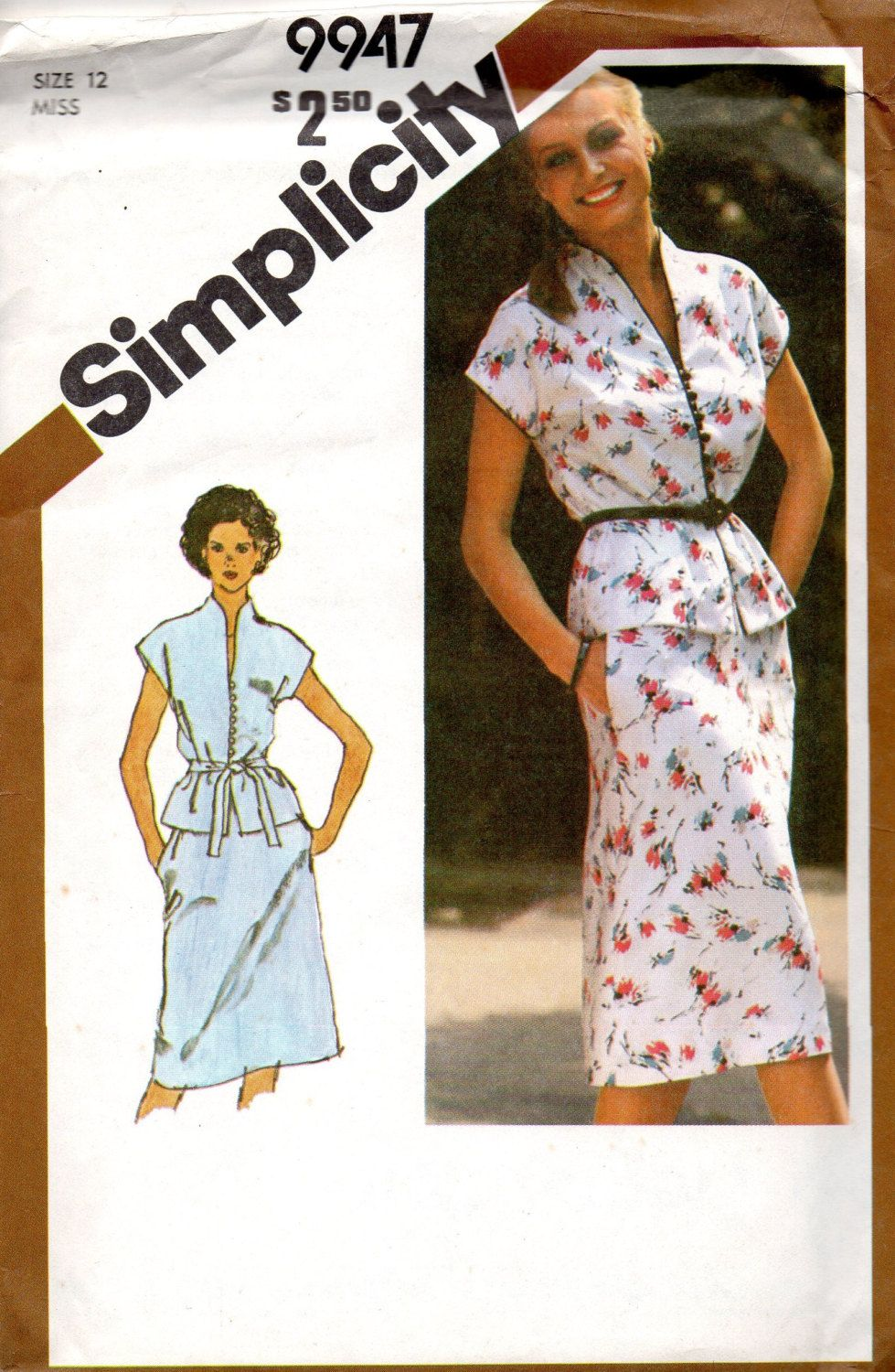 80s Retro Simplicity 9947 Sewing Pattern Casual Two Piece