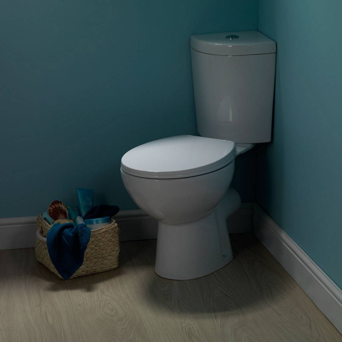 Palm Corner Close Coupled Toilet Inc Soft Close Seat Victoria Plumb Close Coupled Toilets Small Bathroom Corner Toilet