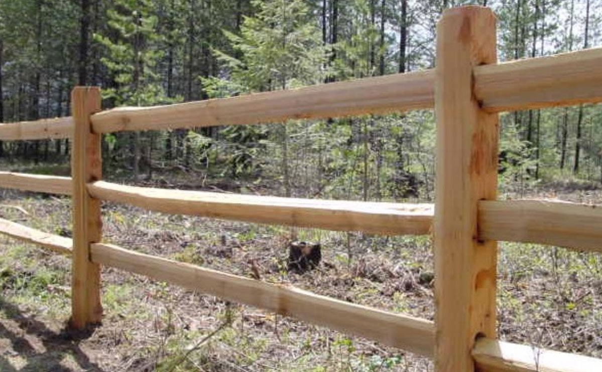 119 Reference Of Cedar Fence With Pressure Treated Rails In 2020 Cedar Split Rail Fence Post And Rail Fence Rustic Fence