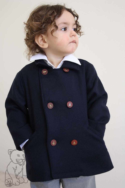 Boys Nautical Anchor Sailor Double Breasted Pea Coat- Navy Blue Wool. $85.00, via Etsy. | Boys pea coat, Baby boy fashion, Double breasted pea coat