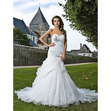 trompeta / sirena capilla novia tren vestido de novia de organza ...