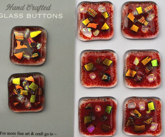Commissioned 8 x Fused glass Red by NikkiEllaWhitlock