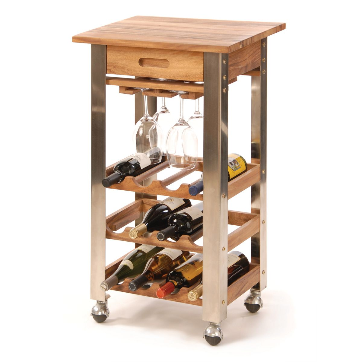 The Kitchen Trolley Is A Moveable Wine Rack For 12 Bottles Of Wine And 4 To 6 Stemware Glasses 199 95 Kitchen Trolley Wrought Iron Wine Rack Tidy Kitchen