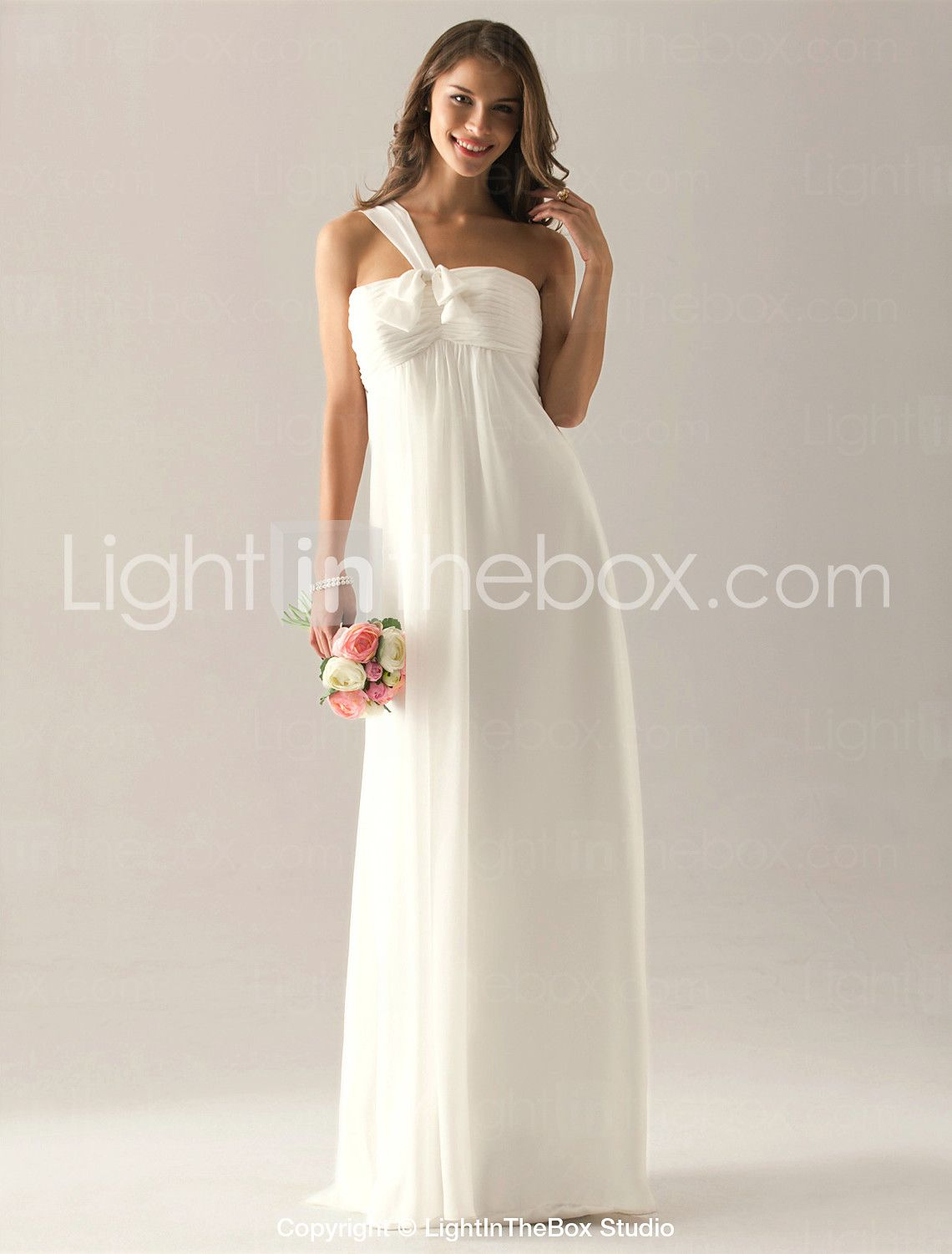 Sheath column one shoulder floor length chiffon bridesmaid dress
