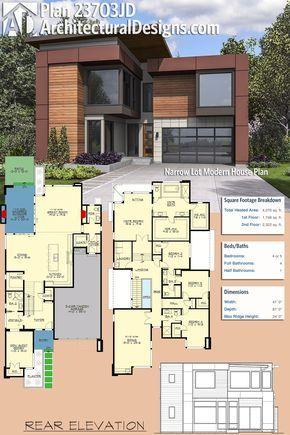 Plan 23703jd Narrow Lot Modern House Plan Plan Maison Architecte Maison Architecte Et Plan Maison Moderne