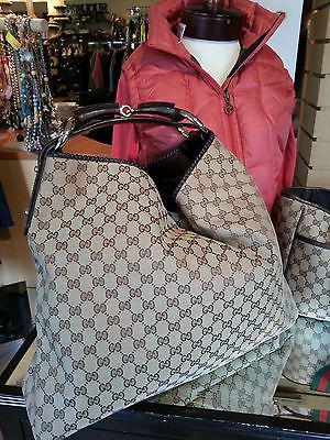aac497415909e5 GUCCI Monogram Canvas Hobo Bag Horsebit Handle XL Euc 114900 213317  Authentic $649
