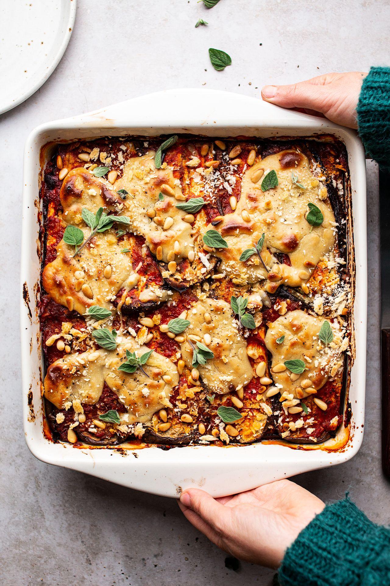 Vegan eggplant parmigiana Lazy Cat Kitchen Recipe in