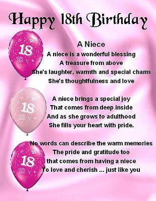 Fantastic Fridge Magnet Personalised Niece Poem 18Th Birthday Free Funny Birthday Cards Online Fluifree Goldxyz