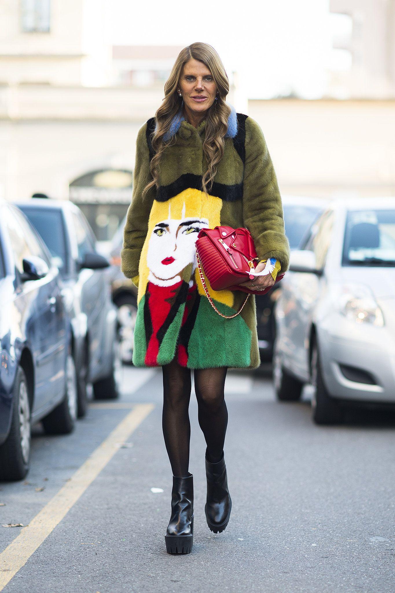 Anna Dello Russo in her Prada pop art coat.