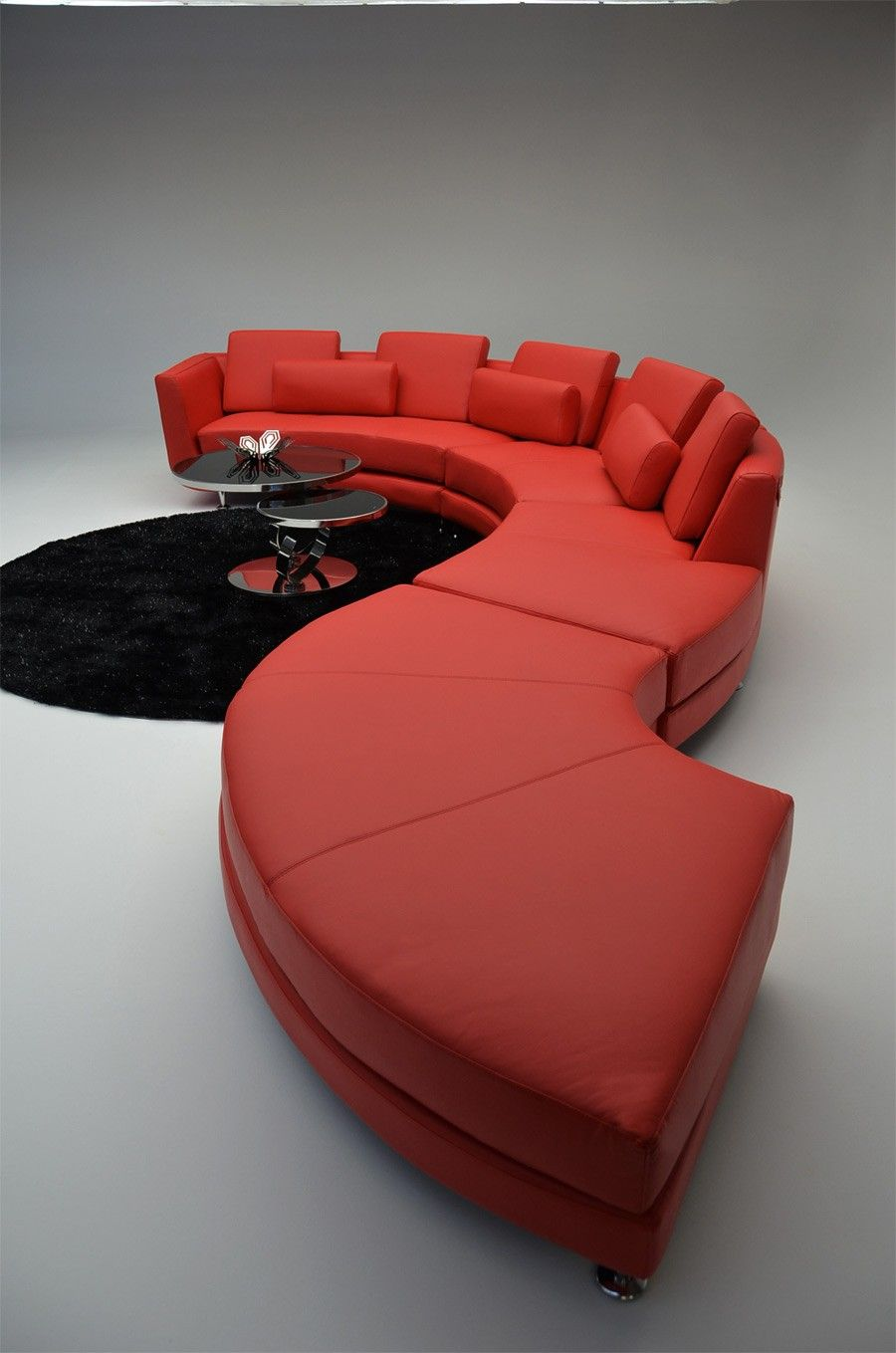 A94 Contemporary Red Leather Sectional Sofa Red Leather