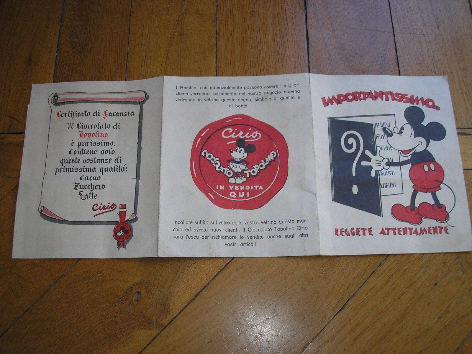Attestato Bambini ~ Topolino walt disney cioccolato cirio 1936 pieghevole per