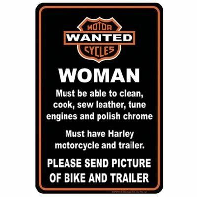 Harley Davidson Tin Sign ~ Woman Wanted ~ Send Pictures of Bike and