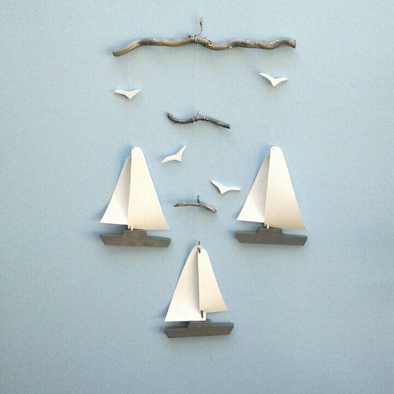 Photo of Sailboat Mobile-Y7,Yacht,Weathered Gr,Br,Bl,Wooden Hull,Vinyl Sail,Seagulls,Sailboat,Mobile,Nautical,Nursery Decor,Ocean Mobile,Baby Shower