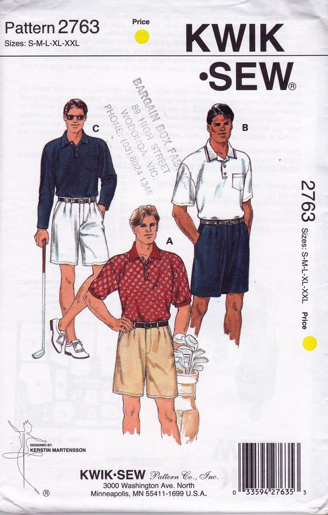 90s Mens Chino Shorts & Polo Tops Pattern Kwik Sew 2763 Vintage ...