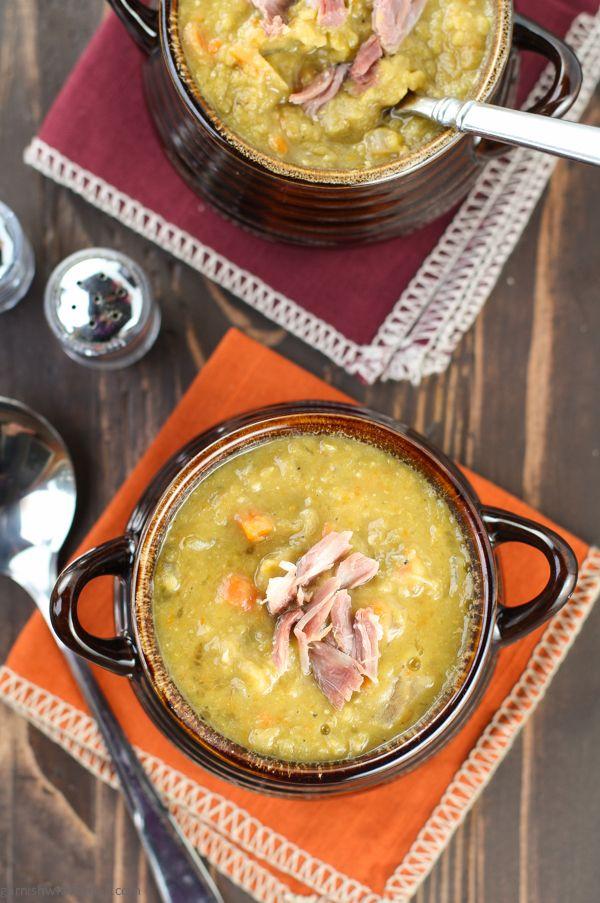 Slow Cooker Split Pea Soup with Ham | Garnish with Lemon