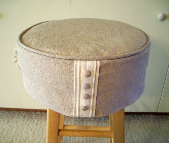 barstool slipcover cushion linen buttons home pinterest linens